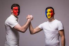 Albania vs Romania. Football fans of national teams friendly handshake Royalty Free Stock Photos