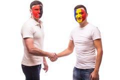 Albania vs Romania. Football fans of national teams friendly handshake Stock Photo