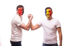 Albania vs Romania. Football fans of national teams friendly handshake Stock Photos