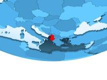 Albania w czerwieni na błękitnej mapie ilustracja wektor