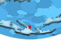 Albania w czerwieni na błękitnej mapie Obrazy Royalty Free