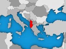 Albania w czerwieni na kuli ziemskiej Obraz Stock