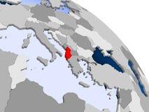 Albania w czerwieni na mapie ilustracji
