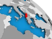 Albania w czerwieni na mapie Zdjęcia Stock