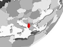 Albania w czerwieni na popielatej mapie royalty ilustracja