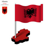 Albania wavy flag over map Royalty Free Stock Photos