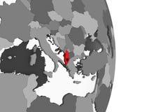 Albania z flaga na kuli ziemskiej ilustracja wektor