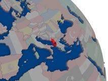 Albania z flaga na kuli ziemskiej Zdjęcie Royalty Free