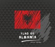 Albania zaznacza, wektorowa ręka rysująca nakreślenie ilustracja na ciemnym grunge tle Zdjęcia Royalty Free