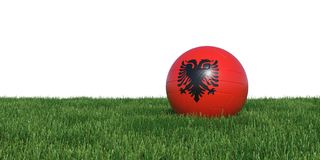 Albanian Albania flag soccer ball lying in grass world cup 2018. Isolated on white background. 3D Rendering, Illustration Royalty Free Stock Photography