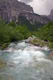 Albanian Alps. Inaccessible Albanian Alps, very hard for trekking, wild river royalty free stock photo