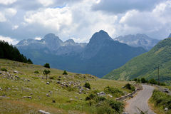 Albanian Alps. The road along the Albanian Alps from Boge to Theth stock image