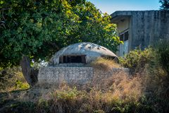 Albanian bunker near the coast of Vlore, Albania royalty free stock images