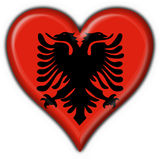 Albanian button flag heart shape Royalty Free Stock Photos
