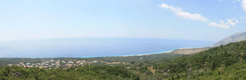 Albanian Coast Landscape. A coastline panorama in South Albania. Taken in August 2009 stock photography
