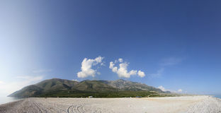 Albanian Coast Landscape. A panorama of beach in South Albania. Taken in August 2009 royalty free stock photos