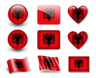 The Albanian flag. Set of icons and flags. glossy and matte on a white background Royalty Free Stock Photos