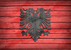 Albanian flag painted on wooden boards Royalty Free Stock Image