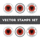 Albanian flag rubber stamps set. National flags grunge stamps. Country round badges collection Royalty Free Stock Image