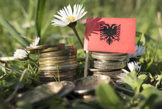 Albanian flag with stack of money coins with grass. And flowers royalty free stock photos