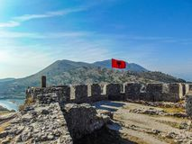 Albanian Flag waving. stock image