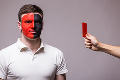 Albanian football fan of Albania national team get red card Royalty Free Stock Images