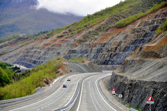 Albanian highway. Highways in Albania form part of the recent Albanian road system stock photo