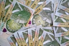 Albanian lek money banknotes. Stacked and photographed from above stock photography
