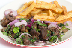 Albanian liver with fries closeup Royalty Free Stock Photography