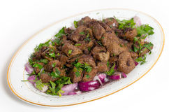 Albanian liver serving plate Stock Photography