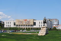 Albanian National Museum. Tirana, Albania, Albanian National Museum facade with mosaic depicting revolutionary figures Royalty Free Stock Photo