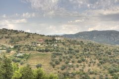 Albanian panorama. A panorama of the landscape around Berat (Berati) city in Albania as seen from the Berat castle (the Unesco World Heritage Site of Historic Royalty Free Stock Images