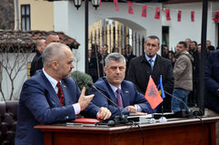 Albanian Prime Minister Edi Rama and Kosovo Prime Minister Hashim Thaci. Pose during a meeting in the house of the Prizren League, where they signed the Stock Images