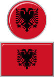 Albanian round and square icon flag. Vector Stock Photo