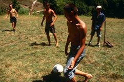 Albanian and Serbian children playing, Kosovo.