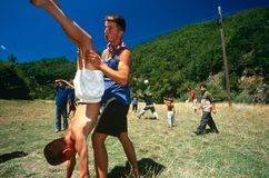 Albanian and Serbian children playing, Kosovo. Royalty Free Stock Images