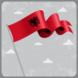 Albanian wavy flag. Vector illustration. Albanian flag wavy abstract background. Vector illustration Stock Image