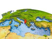 Albanien auf Modell von Erde Lizenzfreie Stockbilder