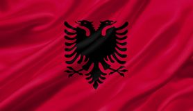 Albanien fahnenschwenkend mit dem Wind, Illustration 3D Stockfoto
