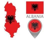 Albanien flagga, översikt och översiktspekare royaltyfri illustrationer