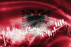 Albanien flagga, aktiemarknad, utbytesekonomi och handel, oljeproduktion, behållareskepp i export och importaffär och logistik vektor illustrationer