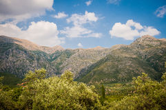 2016, Albanien, Nationalpark Llogara, Llogara-Durchlauf Vlore-Grafschaft, Ansicht zur Bucht und Strand Stockfotos