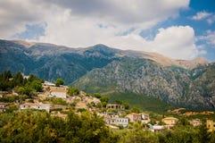 2016, Albanien, Nationalpark Llogara, Llogara-Durchlauf Vlore-Grafschaft, Ansicht zur Bucht und Strand Lizenzfreies Stockbild