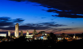 Albanien NY nachts von über Hudson River Lizenzfreie Stockbilder
