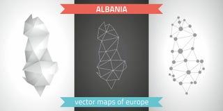 Albanien-Satz Grau und polygonale Karten des Silbermosaiks 3d Grafische Vektordreieckgeometrieentwurfs-Schattenperspektive zeichn Lizenzfreies Stockbild