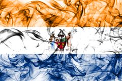 Albanien-Stadtrauchflagge, neuer Yor-Zustand, die Vereinigten Staaten von Amerika stockbilder