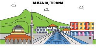 Albanien Tirana, islam Stadshorisont, arkitektur, byggnader, gator, kontur, landskap, panorama, gränsmärken vektor illustrationer