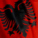 Albanische Markierungsfahnen-Nahaufnahme Lizenzfreies Stockfoto