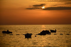 Albanischer Sonnenuntergang Stockfotos