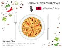 Albansk kokkonst Europeisk nationell maträttsamling Kosovo flia royaltyfri illustrationer